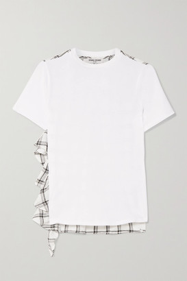 Opening Ceremony Ruffled Cotton And Plaid Brushed-twill T-shirt - White
