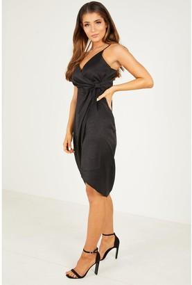 Quiz Satin V Neck Wrap Skirt Strappy Midi Dress - Black