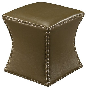 Kingsbrand Square Nailhead Trim Faux Leather Upholstered Square Stool Ottoman, 15