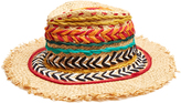 Etro Woven silk and raffia panama hat