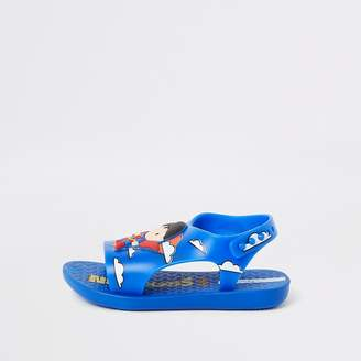 River Island Mini boys Ipanema blue Superman sliders