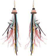 Etro Bead and feather-embellished drop earrings