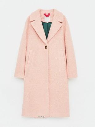 White Stuff Boucle Midi Coat - Pink