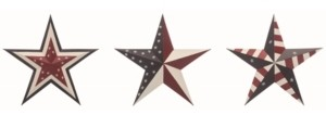 Transpac Trans Pac Multicolor 4th of July Patriotic Stars - Set of 3
