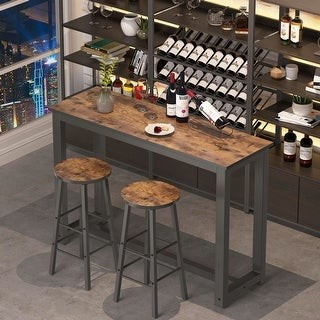 Tribesigns 3 Piece Bar /Pub Table Set with 2 Stools, Counter Height Dining Set