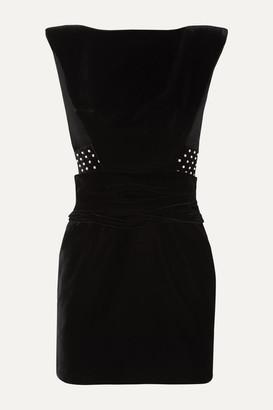 Saint Laurent Crystal-embellished Velvet Mini Dress - Black