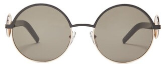 Marni Circle-inlay Round Metal Sunglasses - Womens - Black