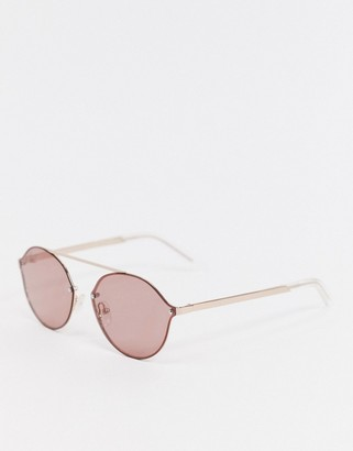 Pilgrim zadie oval sunglasses with gold frame