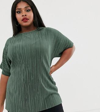 Asos DESIGN Curve t-shirt in plisse in khaki