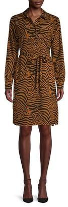 Pure Navy Tiger-Print Long-Sleeves Dress