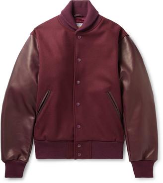 GoldenBear Golden Bear - The Albany Wool-Blend and Leather Bomber Jacket - Men - Burgundy