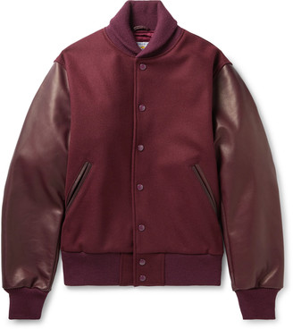 GoldenBear The Albany Wool-Blend And Leather Bomber Jacket
