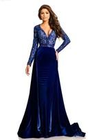 Johnathan Kayne 8013 Embellished Lace Velvet Gown