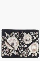 Boohoo Darcy Boutique Floral Embroidered Clutch Bag