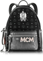 MCM Stark Velvet Insignia Black Medium Backpack