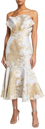 Mestiza New York Pericon Strapless Metallic Jacquard Flounce Midi Dress