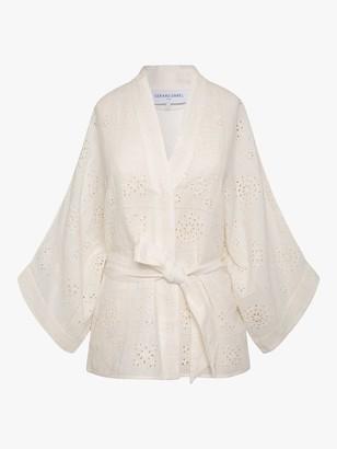 Gerard Darel Naelie Short Kimono Embroidered Top, White