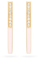 Alison Lou Linear Medium Diamond And 14kt Gold Earrings - Pink