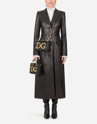 Dolce & Gabbana Single-Breasted Leather Coat