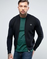 Fred Perry Texture Knit Bomber Stripe Zipthru in Black