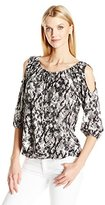 Notations Women's Printed Knit Tie Front Peasant Cold Shoulder Top