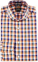 Neiman Marcus Trim-Fit Regular-Finish Check Dress Shirt, Orange/Blue
