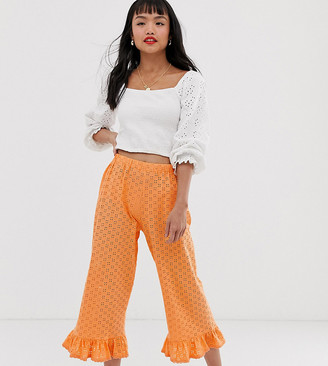 ASOS DESIGN Petite broderie pant with ruffle hem and trim