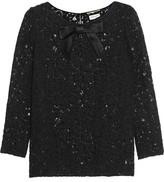 Saint Laurent Satin-trimmed Guipure Lace Top - Black