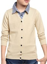 uxcell® Boys Plaids Point Collar Button Up Layered Knit Top