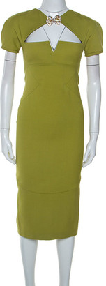 DSQUARED2 Light Green Wool Brooch Neckline Detail Midi Dress S
