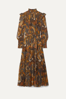 Ulla Johnson Constantine Smocked Ruffled Printed Cotton-blend Midi Dress - Brown