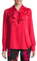 Trina Turk Deming Long-Sleeve Stretch Silk Top, Red