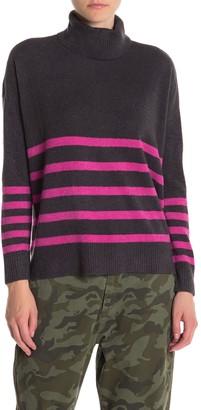 Vince Camuto Striped Turtleneck Lightweight Sweater