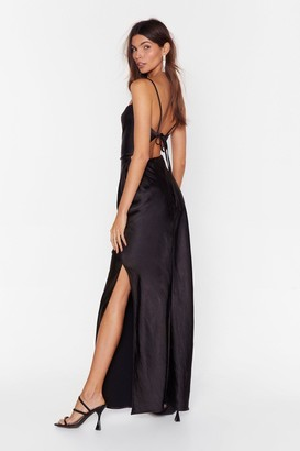 Nasty Gal Womens Tie Low Satin Maxi Dress - black - 6
