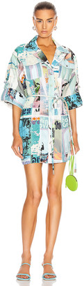 Zimmermann Glassy Safari Mini Dress in Blue Poster Print | FWRD