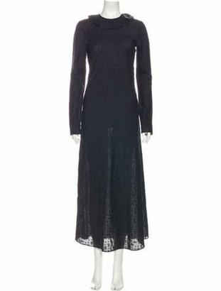 DÔEN Mock Neck Long Dress Blue Mock Neck Long Dress
