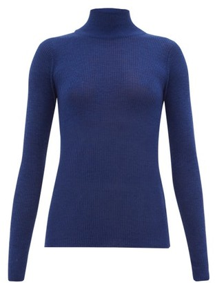 Roche Ryan Ribbed Cashmere Roll-neck Sweater - Womens - Blue