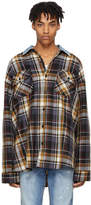 Fear Of God Purple Oversized Plaid Denim Collar Flannel Shirt