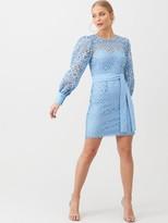 Very Lace Balloon Sleeve Tie Mini Dress - Blue