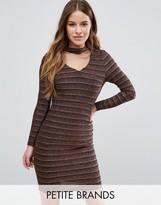 New Look Petite Metallic Backless Bodycon Dress