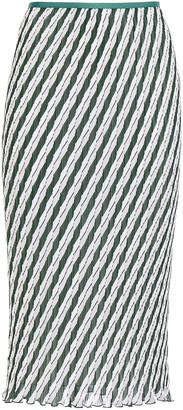 Diane von Furstenberg Pleated Striped Crepon Midi Skirt