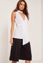 Missguided Choker Neck Sleeveless Wrap Tunic White