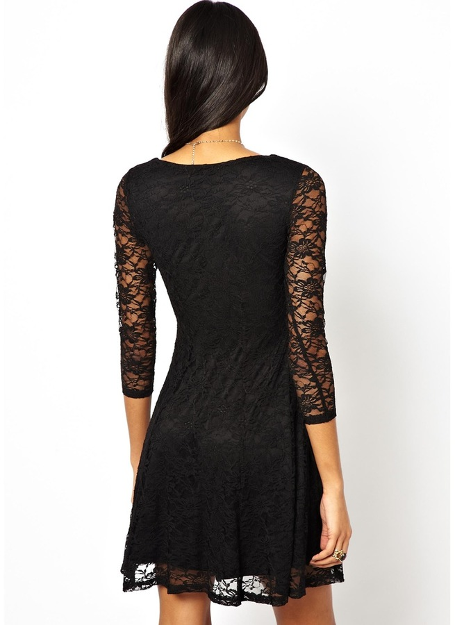 Asos Skater Dress In Flower Lace