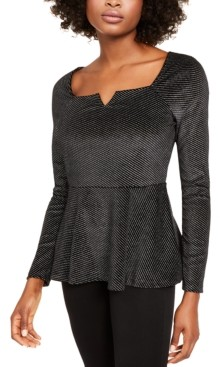Thalia Sodi Metallic Velvet Peplum Top, Created for Macy's