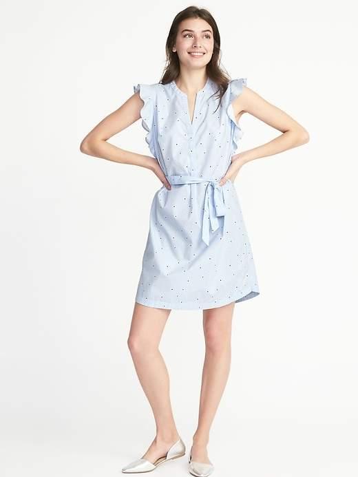 Old Navy Ruffle-Trim Tie-Belt Shirt Dress for Women