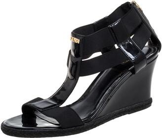 Fendi Black Elastic And Patent Leather Espadrille Wedge T-Strap Sandals Size 37