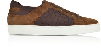 Fratelli Borgioli Cigar Brown Suede and Quilted Nylon Men's Sneakers
