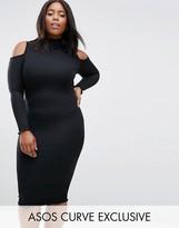Asos Premium Rib Bodycon Dress With Cold Shoulder And Frill Seams