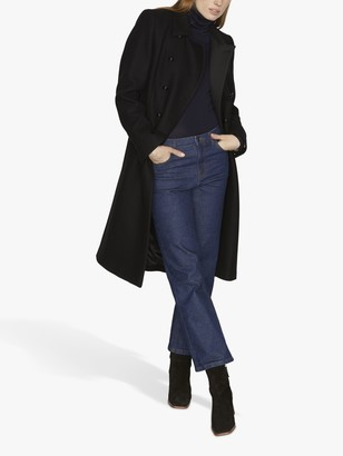 Jigsaw Modern Wool Coat, Black
