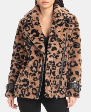 AVEC LES FILLES Leopard-Print Faux-Fur Moto Jacket